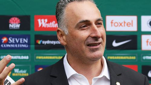 NSW Minister for Sport John Sidoti speaks to the media during a Matildas media opportunity at Bankwest Stadium on August 31.