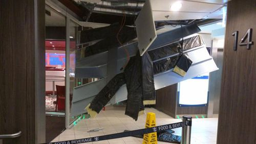 Damage on Royal Caribbean's Anthem of the Seas in the storm in 2016