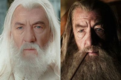 """I do have a slightly different nose for this set of films,"" Sir Ian McKellan said. ""I don't know why. Slightly. And you can't grumble, because in this film everybody wears a wig. Every main character. And a lot of the extras wear wigs. It's never been written about. It's amazing how many wigs there are. <br/><br/>""Everybody has a prosthetic of some sort, they've either got ears or hands or feet. In my case, a nose...The magnificent look that Gandalf has, has nothing to do with me. And I'm very grateful for it."""
