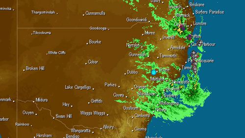 Satellite images of rain over NSW this morning.