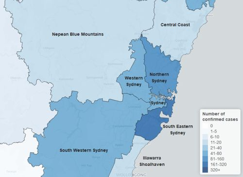 COVID-19 cases across NSW by local health district