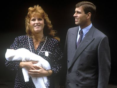 Prince Andrew, Duke of York, and Sarah, Duchess of York, leave Portland Hospital, London, with their newborn daughter Princess Beatrice, 12th August 1988.