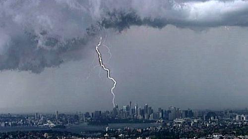 Lightning strikes over the Sydney CBD. (9NEWS)