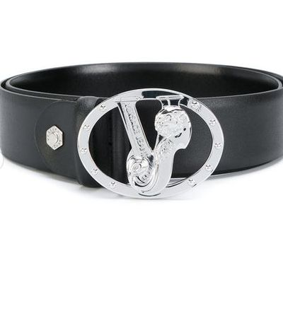 "Versace logo belt, $166 at <a href=""https://www.farfetch.com/au/shopping/women/versace-jeans-monogram-buckle-belt-item-12236421.aspx?storeid=9462&amp;from=listing&amp;rnkdmnly=1"" target=""_blank"" draggable=""false""><strong>Farfetch</strong></a><strong><br /> </strong>"