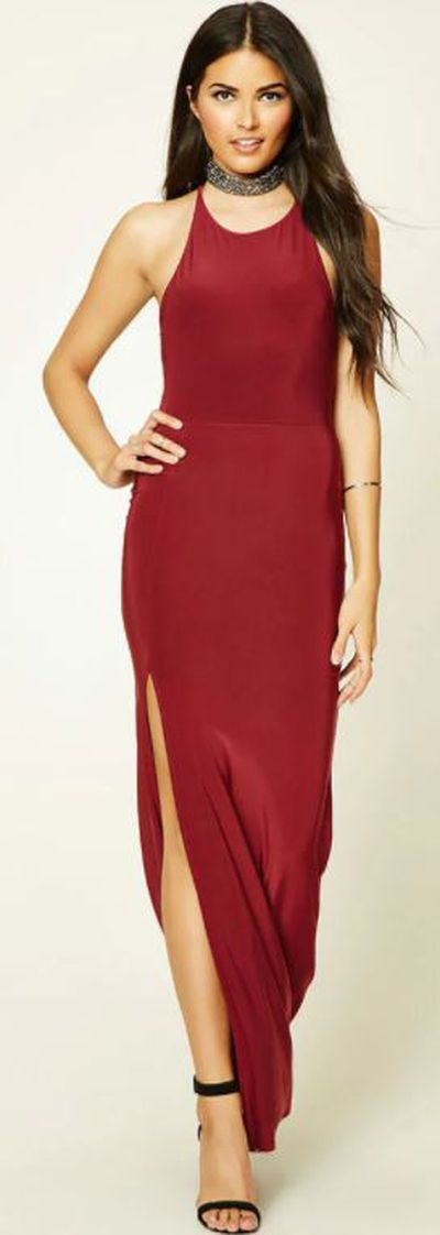 """<a href=""""https://www.forever21.com/us/shop/catalog/product/LOVE21/contemporary-dresses/2000195489"""" target=""""_blank"""" draggable=""""false"""">Forever 21 Contemporary Slit Maxi Dress, $17.90.</a>"""