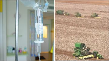 Greg Bishop's neighbours helped him harvest his crops while he undergoes treatment for leukaemia.