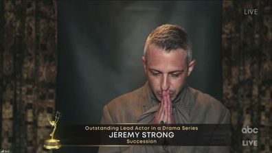 Jeremy Strong wins Best Lead Actor in a Drama Series for Succession at the Emmys.