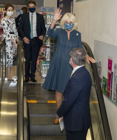 amilla, Duchess of Cornwall wears a face mask during a visit to Boots Piccadilly Store to hear about their support of the charity Hestia's Safe Spaces programme for victims of domestic violence as well as to learn about the company's response to the coronavirus crisis on July 28, 2020 in London, England