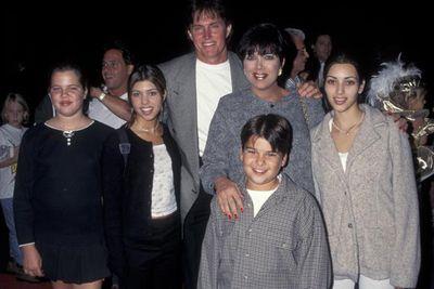 The whole fam! Khloe Kardashian, Kourtney Kardashian, Bruce Jenner (Kim's Olympic gold medallist stepfather), Kris Kardashian, Robert Kardashian and Kim Kardashian. <br/><p><br/>Kim, Kourtney, Khloe and Robert's biological father was defense attorney Robert Kardashian, known for being the attorney and friend of O.J. Simpson.