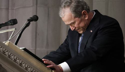 George W Bush delivered and emotional eulogy at the funeral.
