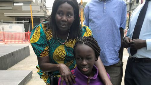 Sunday Mabior, a Sudanese refugee, is now 13 years of age and confined to a wheelchair. Picture: AAP