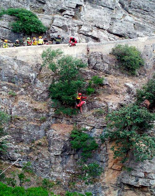 Mountain rescue teams search for trapped hikers at the Raganello Gorge.