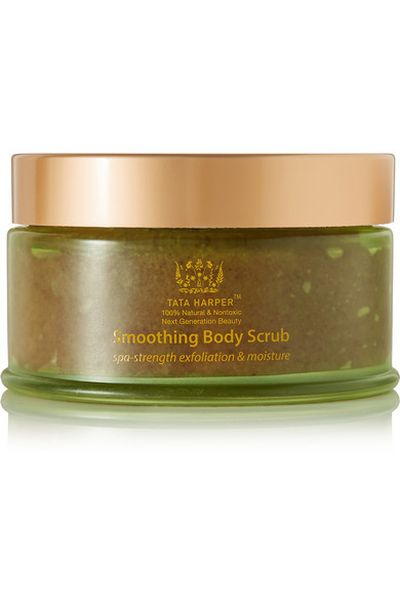 "<a href=""https://www.net-a-porter.com/au/en/product/614860/Tata_Harper/smoothing-body-scrub--150ml"" target=""_blank"" draggable=""false"">Tata Harper Smoothing Body Scrub 150ml, $99.18</a>"
