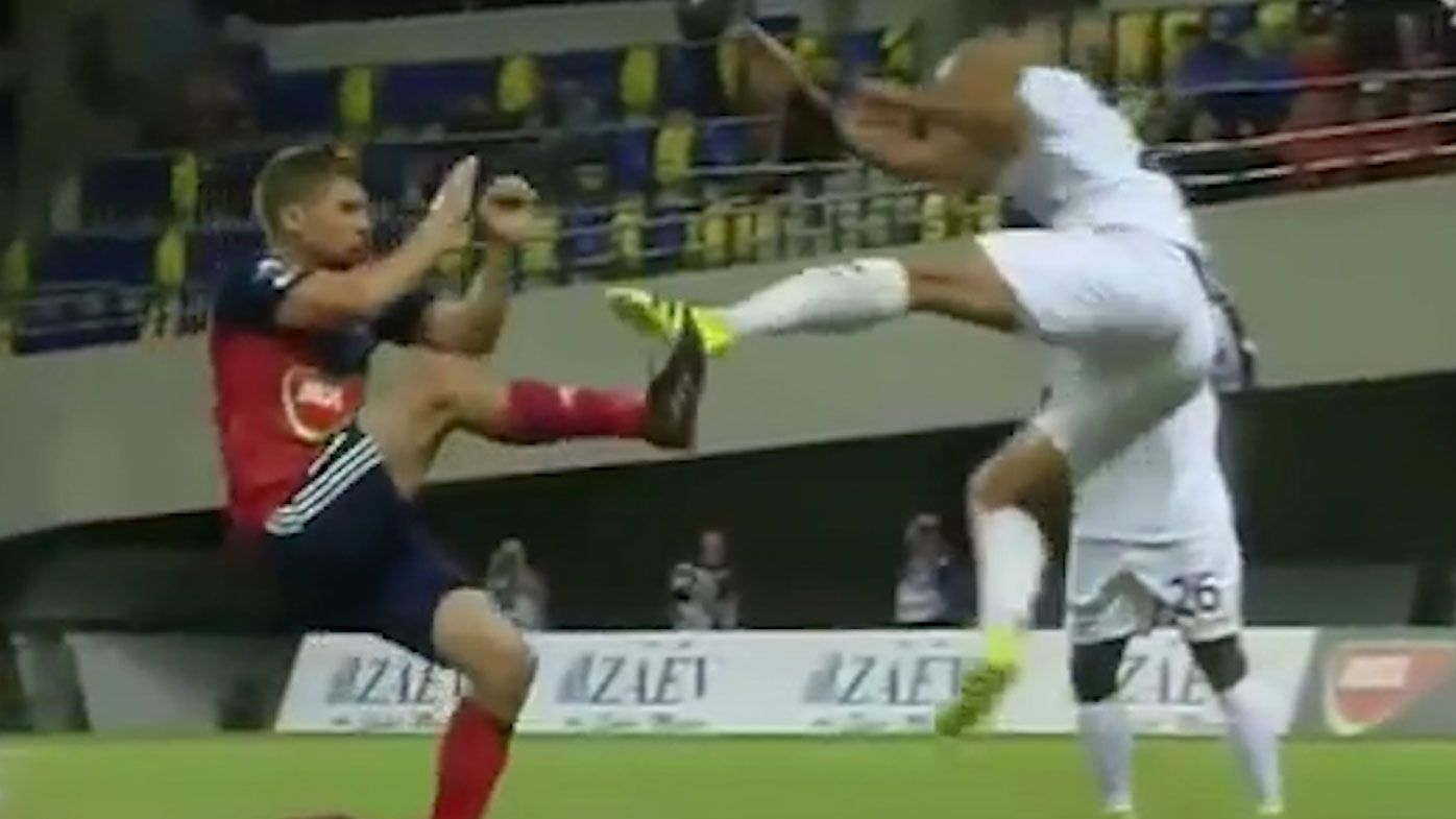 French defender Bryan Melisse unleashes horror two-footed tackle in Champions League qualifier