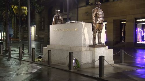 The Sydney Cenotaph in Martin Place, which was the scene of an act of vandalism last night. Picture: 9News