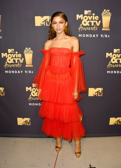 Zendaya attends the 2018 MTV Movie And TV Awards at Barker Hangar on June 16, 2018 in Santa Monica.