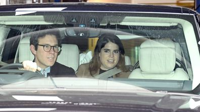 Jack Brooksbank and Princess Eugenie of York depart the Portland Hospital for Women on February 12, 2021 in London, United Kingdom