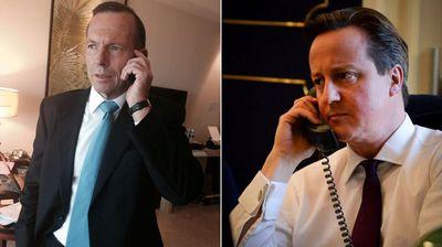 Tony Abbott's Twitter photo (left) and UK PM David Cameron's (right)