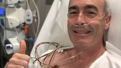 Greg Page, Yellow Wiggle, hospital, bed, selfie