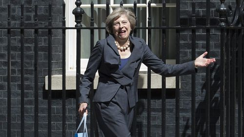 British Home Secretary Theresa May leaves Number 10 Downing Street. (AAP)