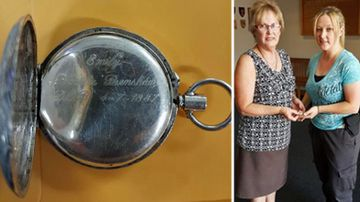 The engraved silver fob watch and the owner, Judy, receiving it from a NSW Police officer. (Photo: NSW Police).