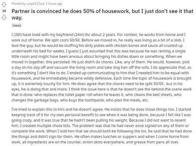 The woman has explained the imbalance of domestic duties on Reddit.