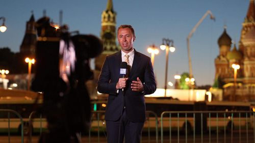 9NEWS Sports Reporter Clint Stanaway broadcasts live to Australia from  Moscow. Picture: Clint Stanaway