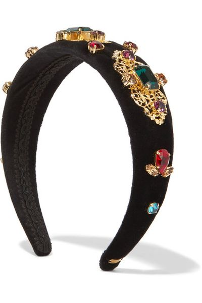 "Dolce &amp; Gabbana embellished headband $900 at <strong><a href=""https://www.net-a-porter.com/au/en/product/792818?cm_mmc"" target=""_blank"" draggable=""false"">Net-a-porter<br> </a></strong>"