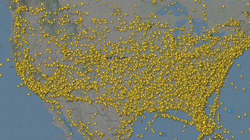 Flightradar24 posted this image of planes flying above North America on Tuesday.