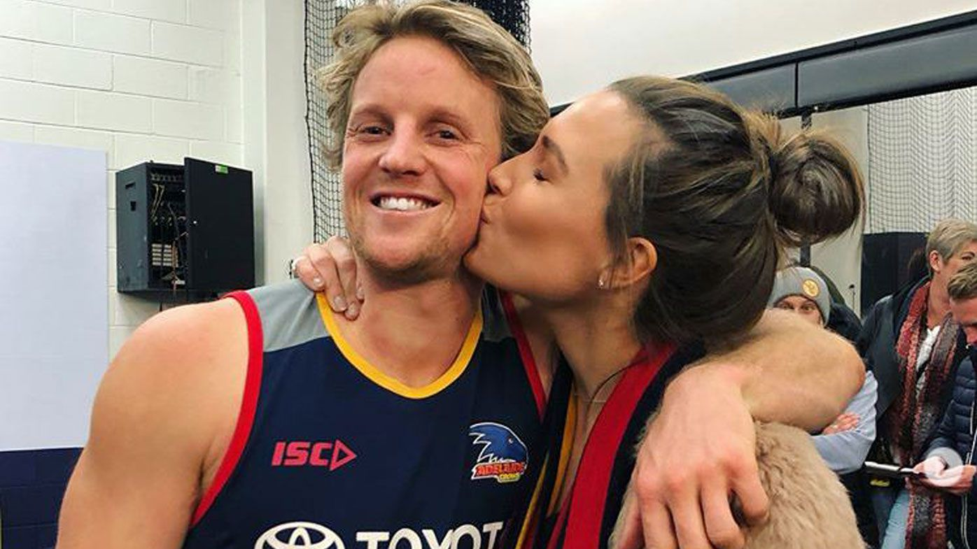 Adelaide Crows star Rory Sloane and wife Belinda celebrate Father's Day in poignant moment