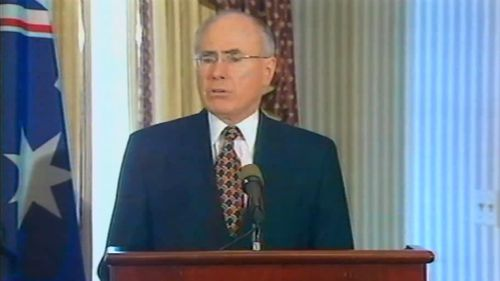 John Howard speaks in Washington after the Twin Towers were struck on September 11, 2001.
