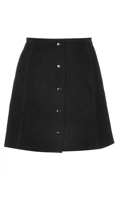 """<p><a href=""""http://www.topshop.com/webapp/wcs/stores/servlet/ProductDisplay?searchTerm=black+suede+skirt&storeId=12556&productId=18484652&urlRequestType=Base&categoryId=&langId=-1&productIdentifier=product&catalogId=33057"""" target=""""_blank"""">Suede Button Front A-Line Skirt, approx. $150, Topshop</a></p>"""