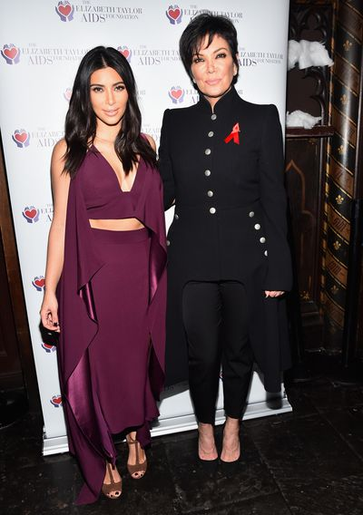 Kim Kardashian West wearing Juan Carlos Obando, and Kris Jenner  the Elizabeth Taylor AIDS Foundation Gala in West Hollywood, December, 2014