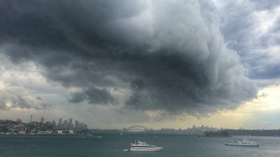 A photo of the storm over Sydney, taken from Vaucluse. (Supplied: Lynn Clayton)