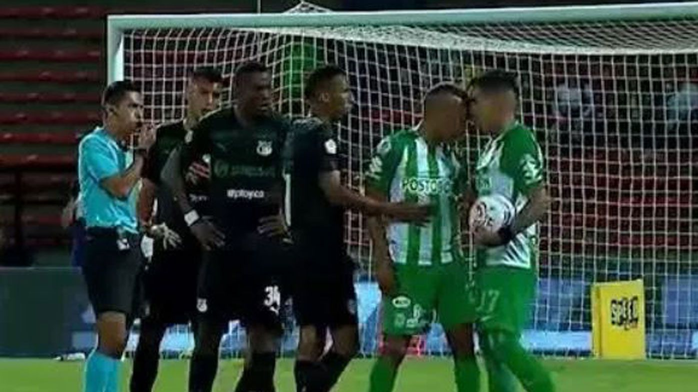 Colombian footballer sent off for headbutting teammate