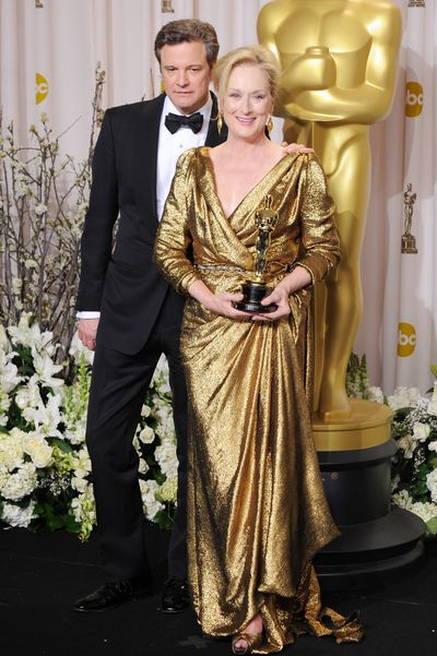 Streep with her Academy Award in 2012, wearing Lanvin.