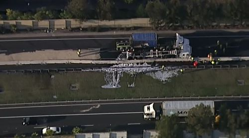 Thick foam was used by emergency services to extinguish the blaze. Picture: 9NEWS.