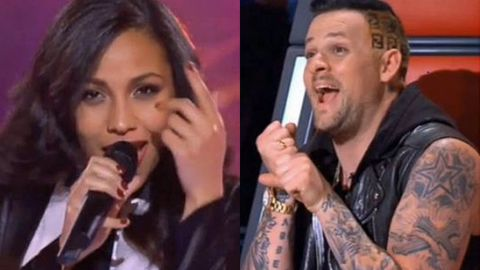 'Just hold me!' Joel Madden flirts shamelessly with sexy <i>Voice</i> diva