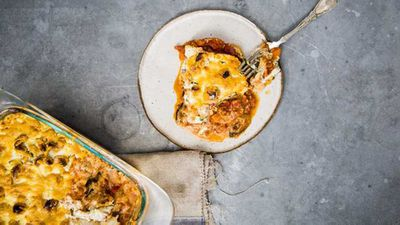 "Recipe:&nbsp;<a href=""http://kitchen.nine.com.au/2017/07/10/17/55/guy-turlands-bolognese-zucchini-and-eggplant-lasagne"" target=""_top"">Guy Turland's beef, zucchini and eggplant lasagne</a>"