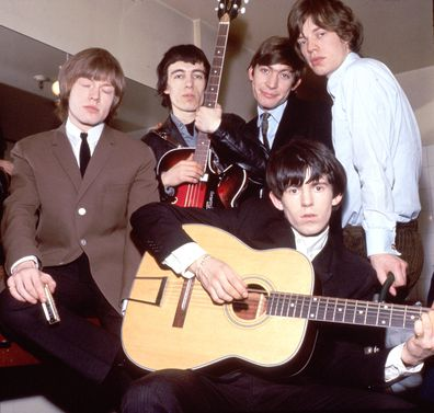 The Rolling Stones taken in the 1960's, from left to right, Brian Jones, Bill Wyman, Charlie Watts, Keith Richards and Mick Jagger.