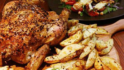 """Recipe:<a href=""""http://kitchen.nine.com.au/2016/05/05/12/50/herbroasted-chicken-with-haloumi-salad-and-hummus"""" target=""""_top"""">Herb-roasted chicken with haloumi salad and hummus</a>"""