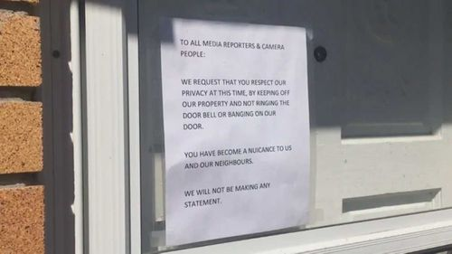 Bryer Schmegelsky's family left this note outside their home.