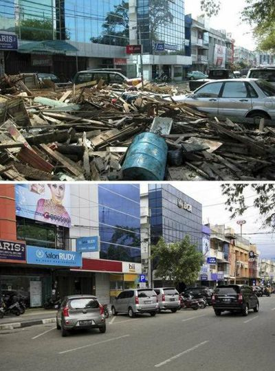 Damage and debris at Panglima Polem Street near Peunayoung neighbourhood on 26 December 2004 (top) and a view of the same area on 16 December 2014 (bottom), in Banda Aceh, Indonesia.  (EPA)