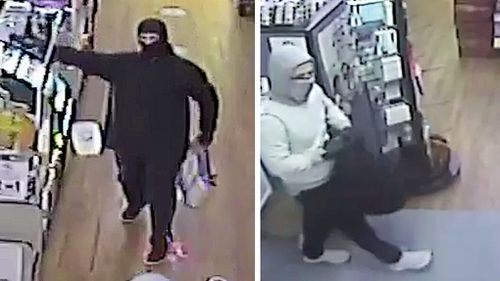 CCTV footage shows two men, one armed with a taser, entering the Mariner Boulevard, Deception Bay IGA Superment around 7pm on May 23.