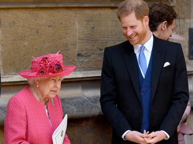 Queen Elizabeth II and Prince Harry, Duke of Sussex attend the wedding of Lady Gabriella Windsor and Thomas Kingston in 2019