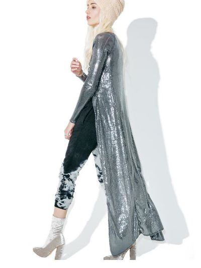 "<a href=""http://www.dollskill.com/indah-kit-sequined-duster-jacket.html?currency=AUD&gclid=CO3EqZ2sn9ACFUFMvQodDr8D2A"" target=""_blank"">Dolls Kill</a> sequinned coat, $420.58"