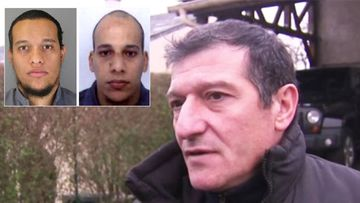 Michel Catalono, and inset, gunmen Cherif and Said Kouachi.