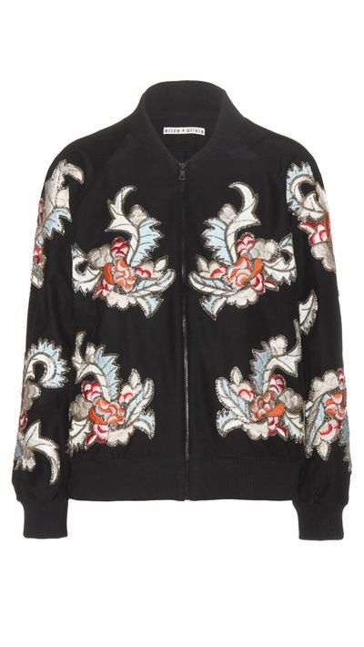 "<a href=""http://www.mytheresa.com/en-au/felisa-embellished-silk-bomber-jacket-397657.html"" target=""_blank"">Jacket, $713, Alice & Olivia at mytheresa.com</a>"