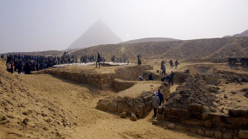 General view of the tomb of an Old Kingdom priestess on the Giza plateau on the southern outskirts of Cairo. (AAP)