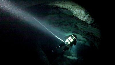 Some of the caves inside South Australia's sinkholes can extend quite deep. (SA Police)
